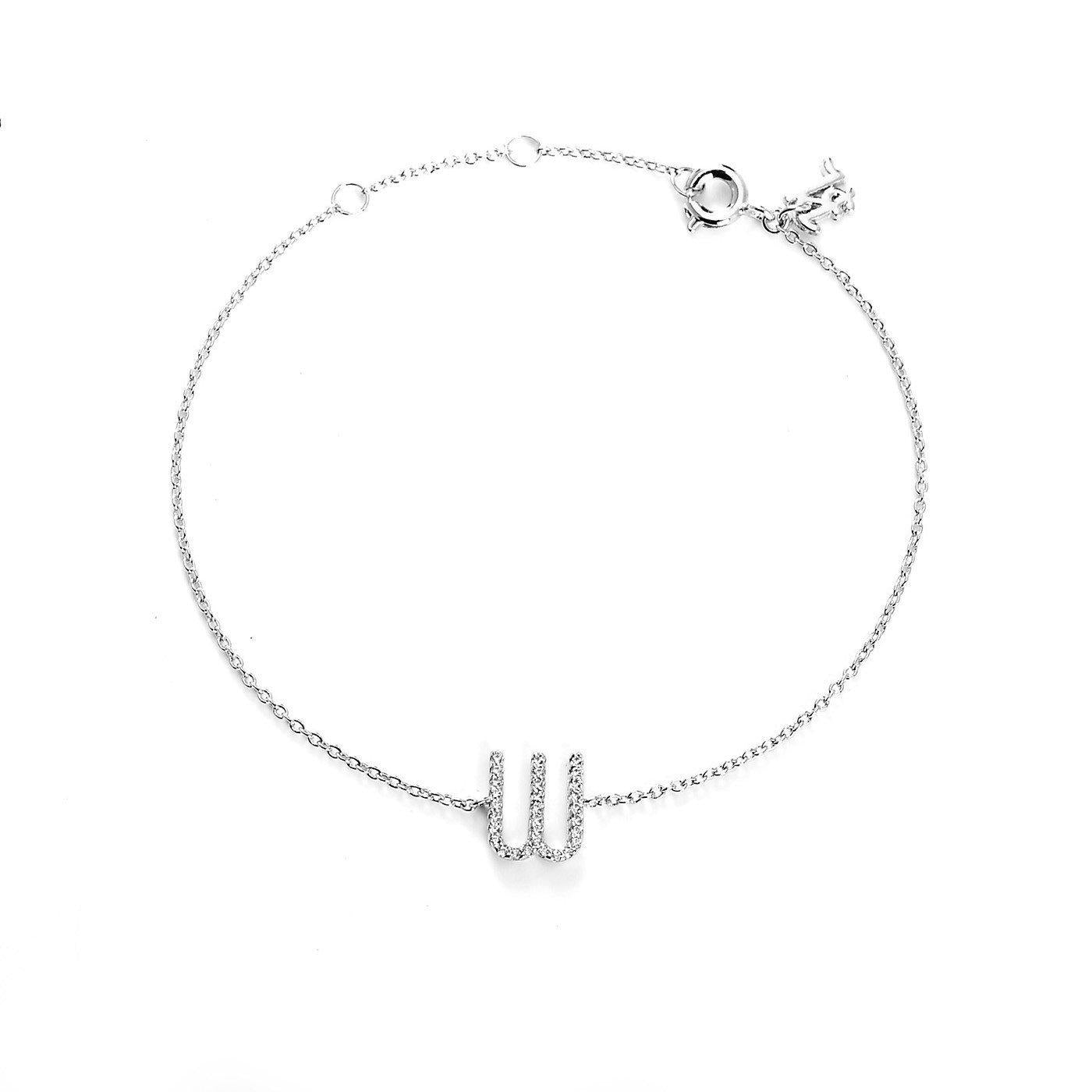 Your initial W Bracelet-Blinglane