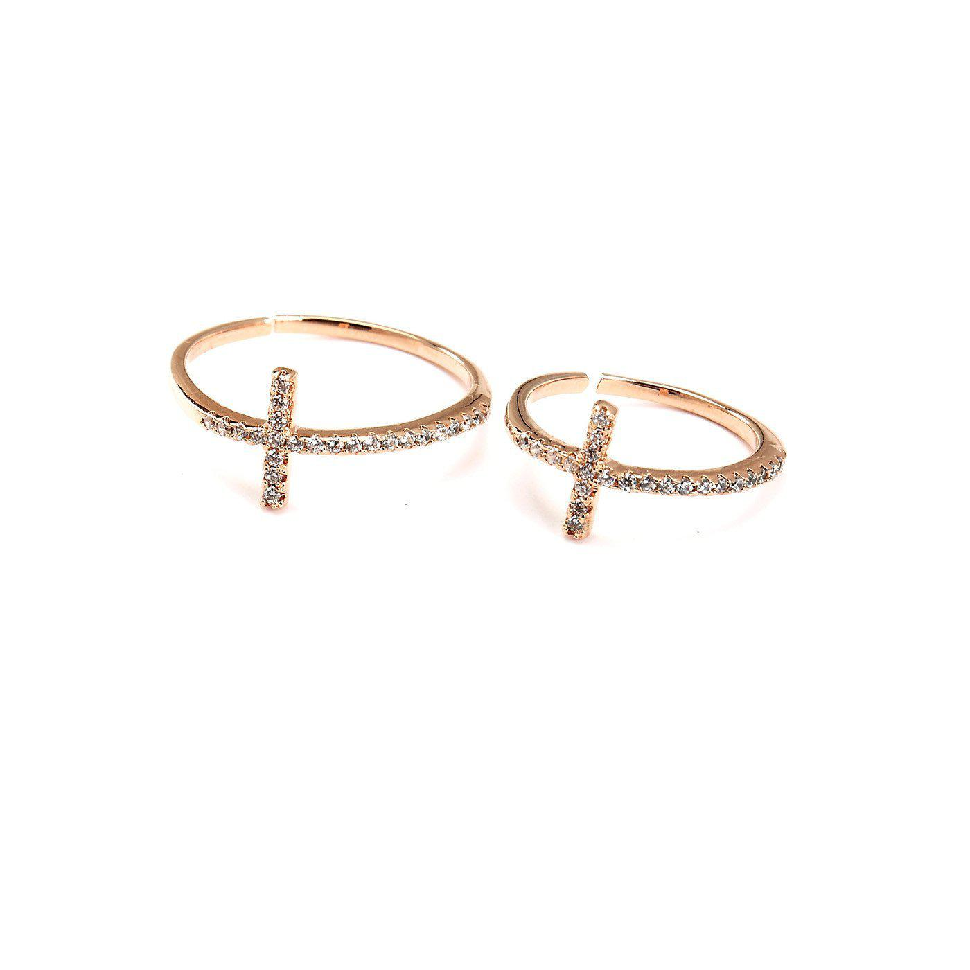 Zirconia Cross Midi Ring-Blinglane