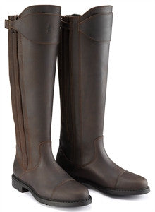 Caldene Buckland Long Waxed Leather & Waxed Leather/Suede Zip Up Boot