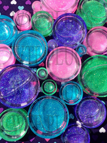 Glitter Snowglobe Shaker Plugs- 8mm-36mm (SOLD INDIVIDUALLY, NOT AS PAIR)