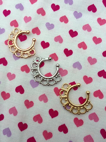 Non Pierced Ornate Septum Hangers