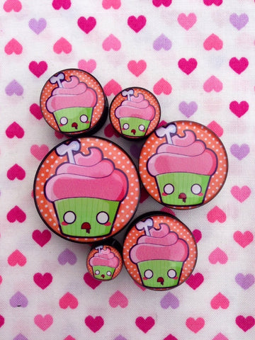 Zombie Cupcake Plugs- 6mm-25mm (SOLD INDIVIDUALLY, NOT AS PAIR)