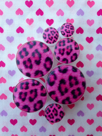 Pink Leopard Print Plugs- 6mm-25mm (SOLD INDIVIDUALLY, NOT AS PAIR)