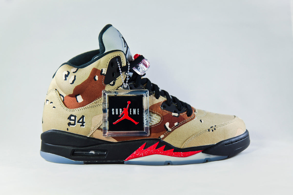 039a918a3fd Air Jordan Retro 5 Supreme Camo – NOJO Kicks Detroit