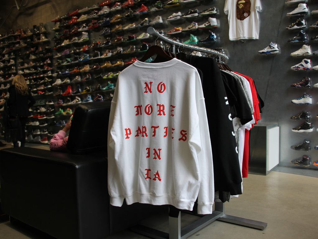 "TLOP LA Pop Up ""No more parties in LA"" White Crewneck"