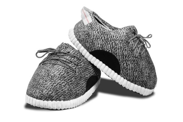 "Yeezy Inspired Look Alike Novelty Slippers ""Gray Spotted"""