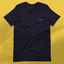 Load image into Gallery viewer, LET'S VIBE navy tee women's