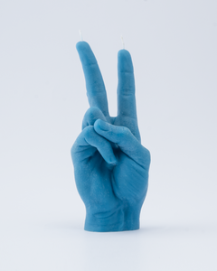VICTORY hand gesture Blue Candle Hand