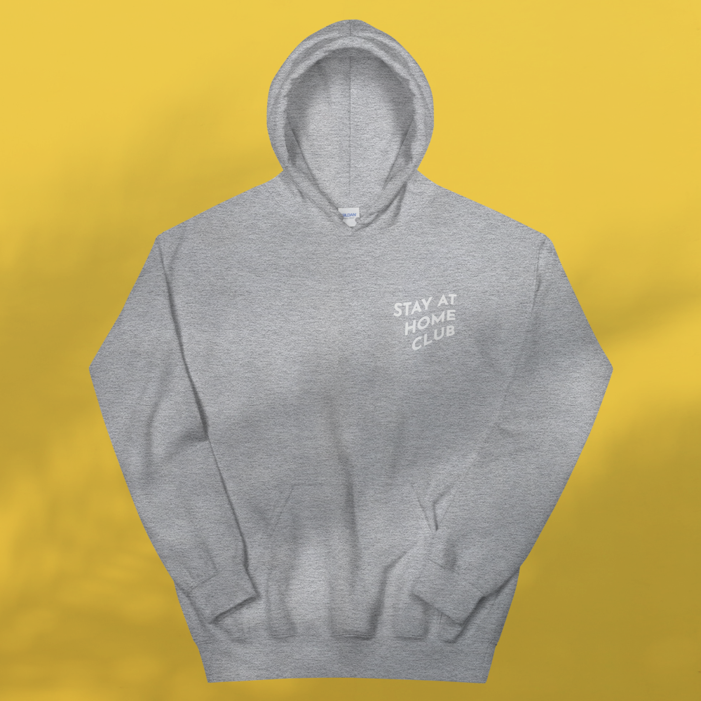 STAY AT HOME CLUB Grey hoodie Unisex