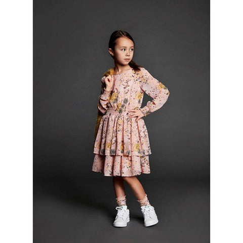 Creamie Printed Chiffon Dress Rose Smoke