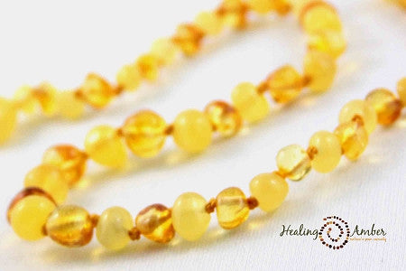 Baltic Amber Teething Necklaces Gold and cream