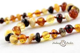 Baltic Amber Teething Anklet Multi Circle
