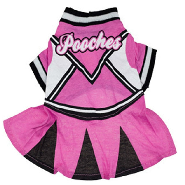 Free Shipping! Cheerleading Dress For Dogs Pet Pink Skirt Clothes