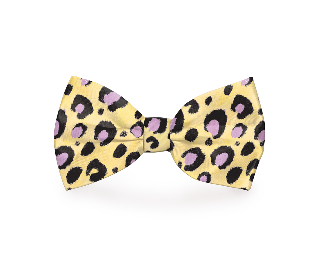 "Free Shipping! ""Yellow Cheetah"" Cheetah Print Dog Bow Tie"