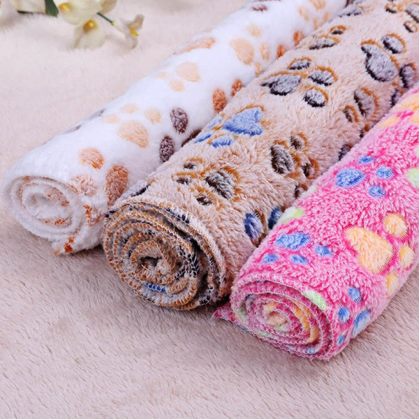 Free Shipping! Cute Paw Print Dog Blanket Soft Fleece Mat