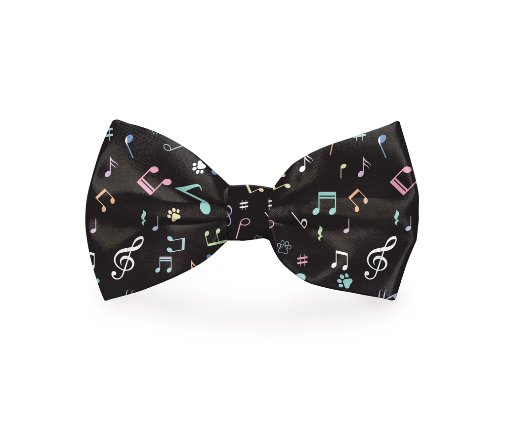 "Free Shipping! ""Black Musical Pup"" Music Note Dog Bow Tie"