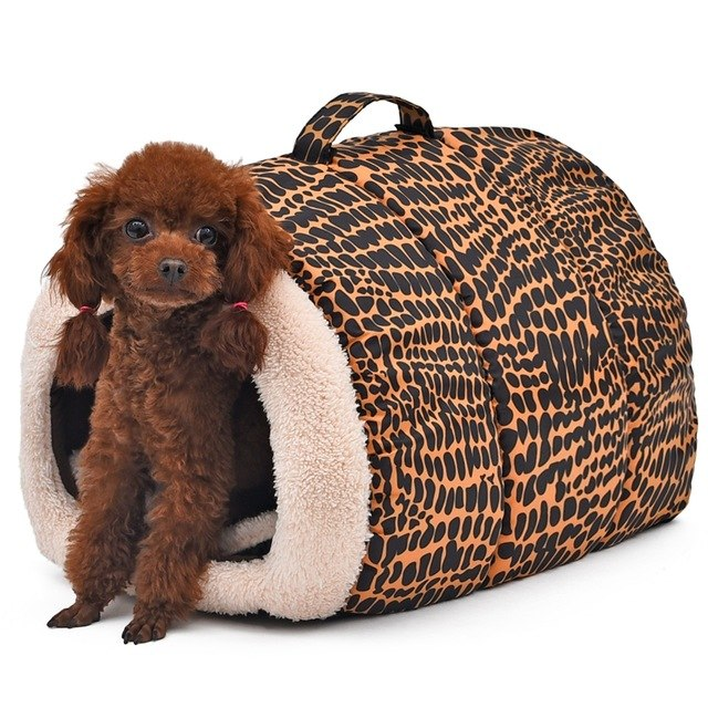 Free Shipping! Dog Bed 2 Color Leopard Easy to Carry Pet Bed