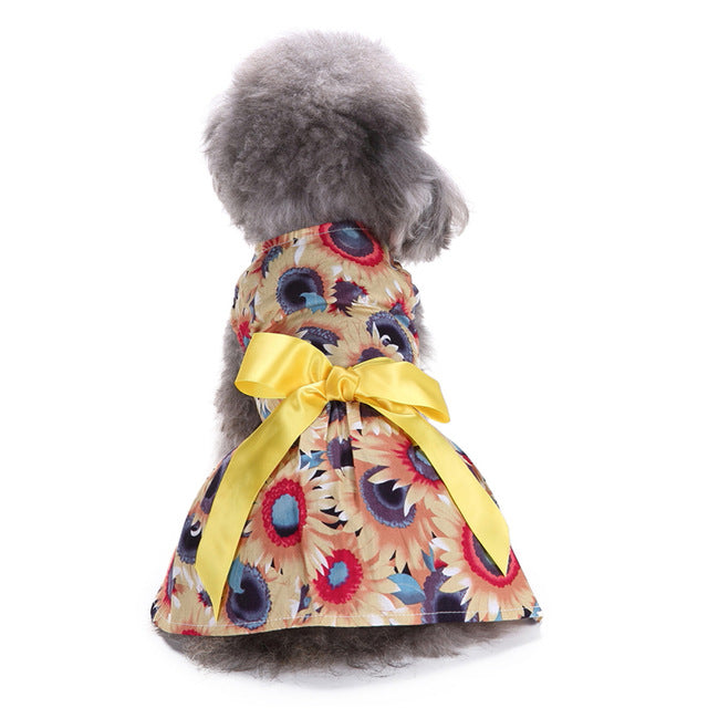 Free Shipping! Pet Clothes Dog Daisy Flower Dress Vest Skirt