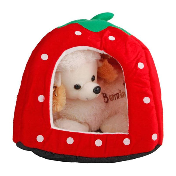 Free Shipping! Soft Strawberry Leopard Print Dog House Tent