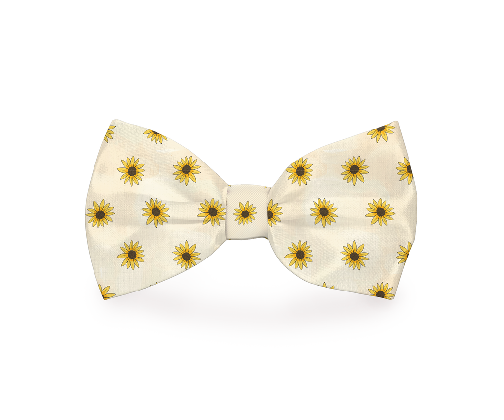 "Free Shipping! ""White Sunflower"" Dog Bow Tie"
