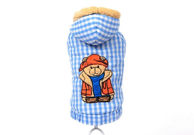 Free Shipping! Winter Warm Dog Clothes Blue Hoodie Jacket