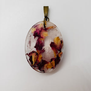 Rose Quartz and Rose Petal Pendant