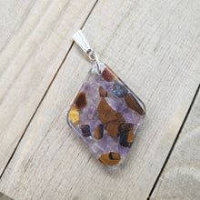 Load image into Gallery viewer, Amethyst and Tiger's Eye Pendant