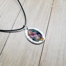 Load image into Gallery viewer, Watermelon Tourmaline Geode Resin Pendant Necklace