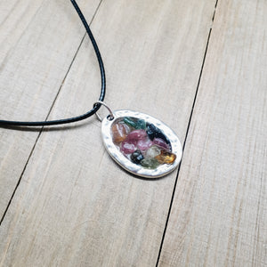 Watermelon Tourmaline Geode Resin Pendant Necklace