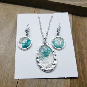 Geode Pendant Necklace and Earring Combination
