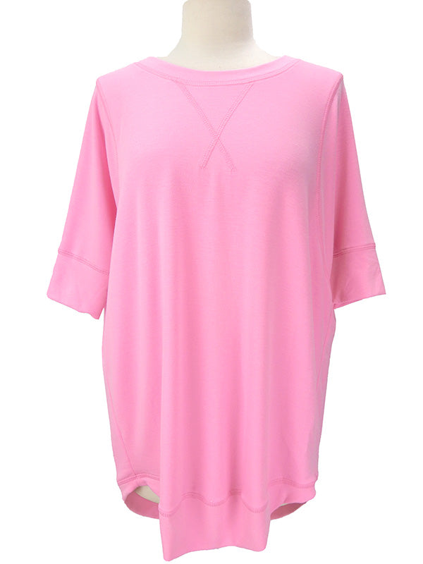 Short Sleeve French Terry Top Mid Pink