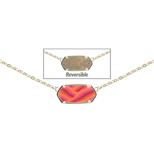 Reversible Hexagon Necklace - Coral Crush