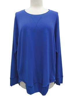 Long Sleeve French Terry Top - Royal Blue