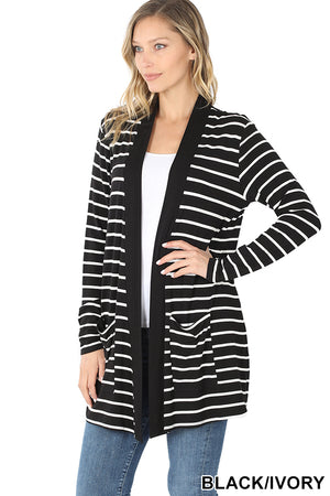Striped Knit Cardigan w/Pockets - Black/Ivory