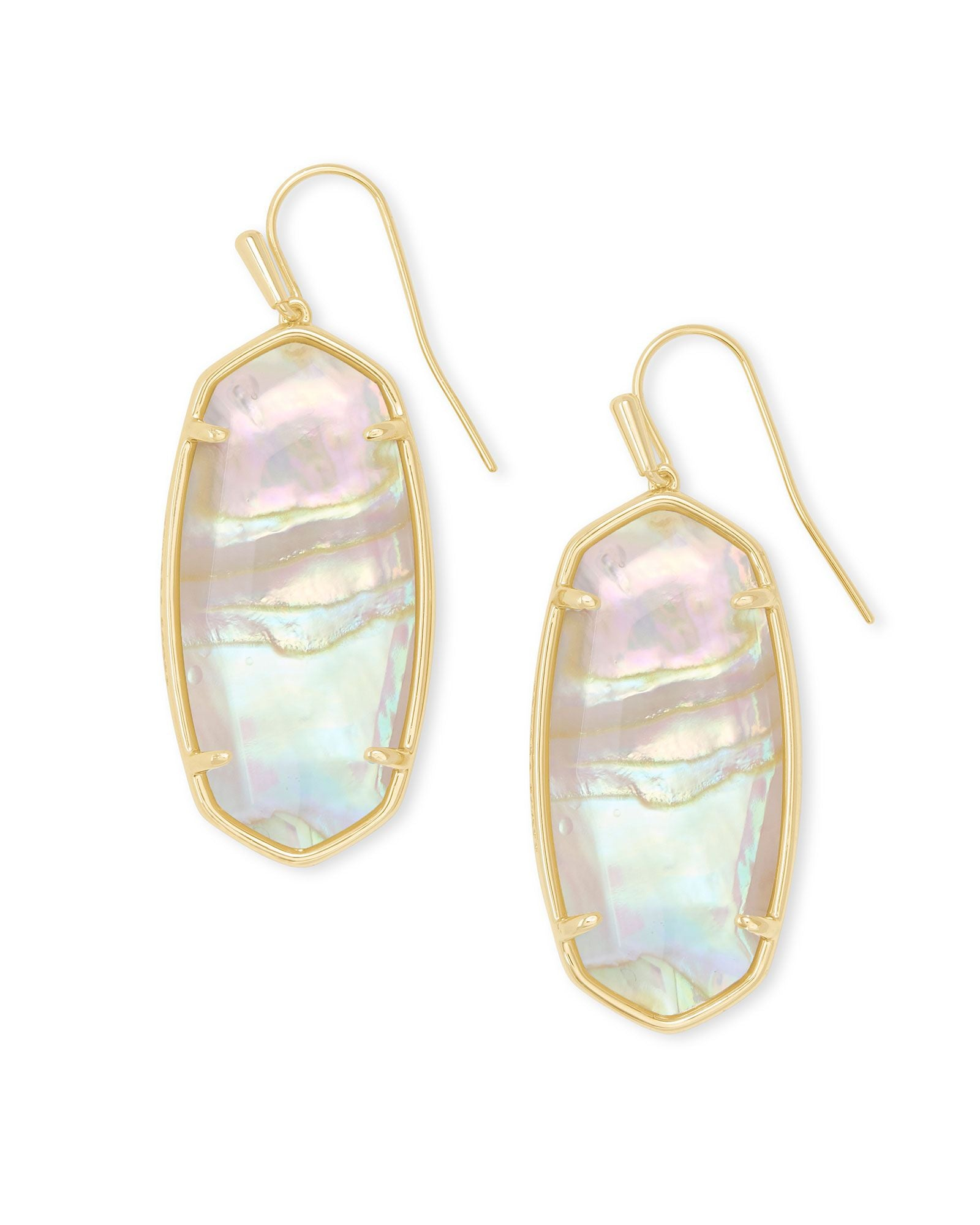 Faceted Elle Earrings - Iridescent Abalone