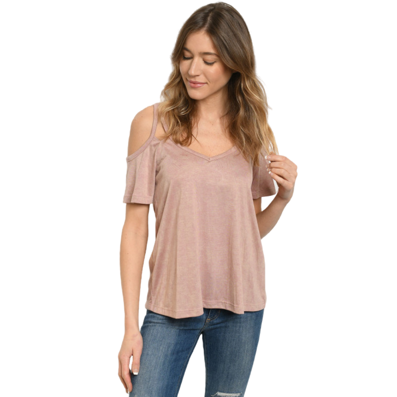 Blush Washed Top Off the Shoulder - goddessinc.com