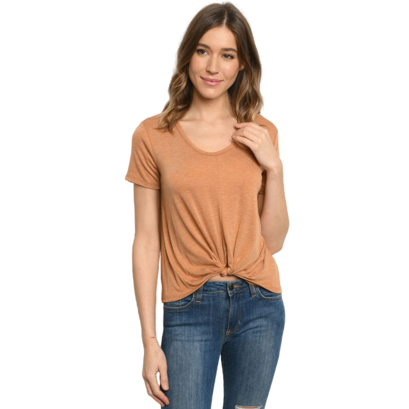 Short sleeve scoop neck with twist knot - goddessinc.com