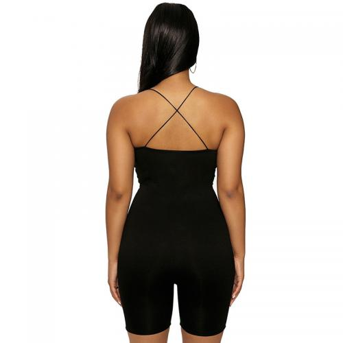 Black romper shorts with Crossed Back - goddessinc.com