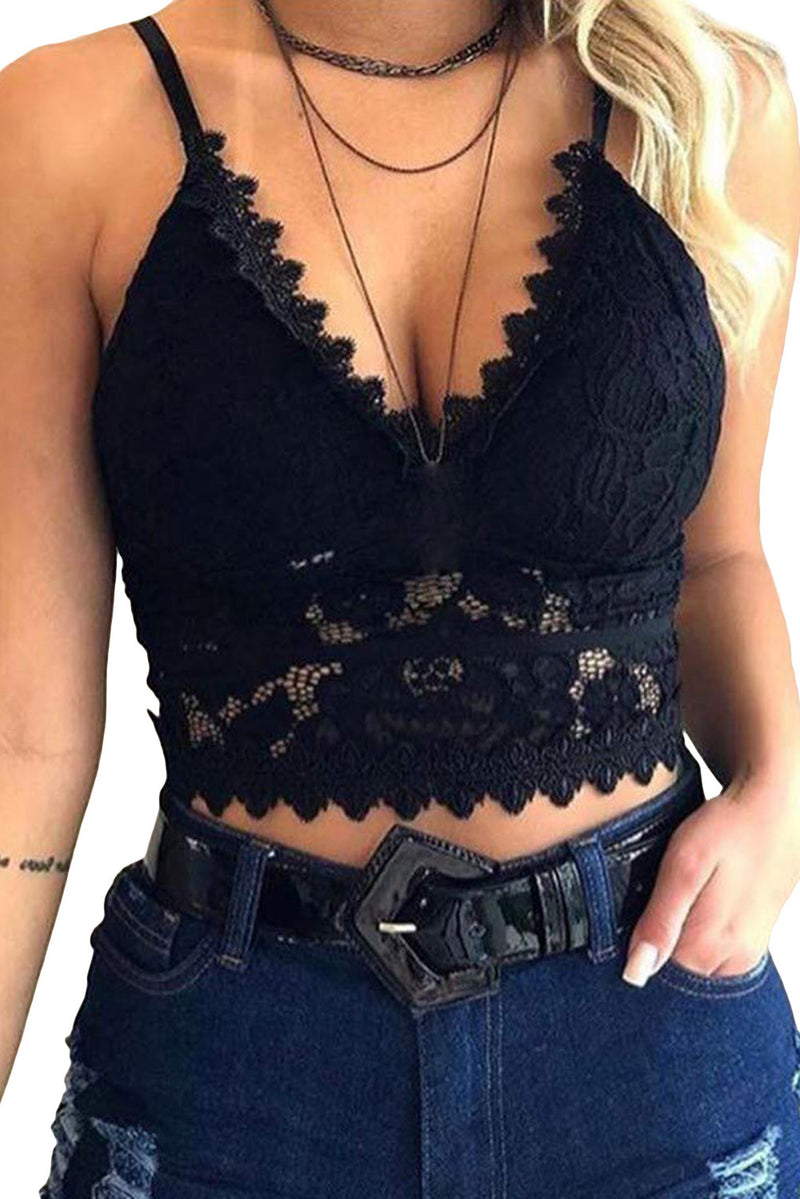 Deep V Lace Bralette Crop Top