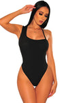 Black Ribbed Knit Asymmetrical Bodysuit