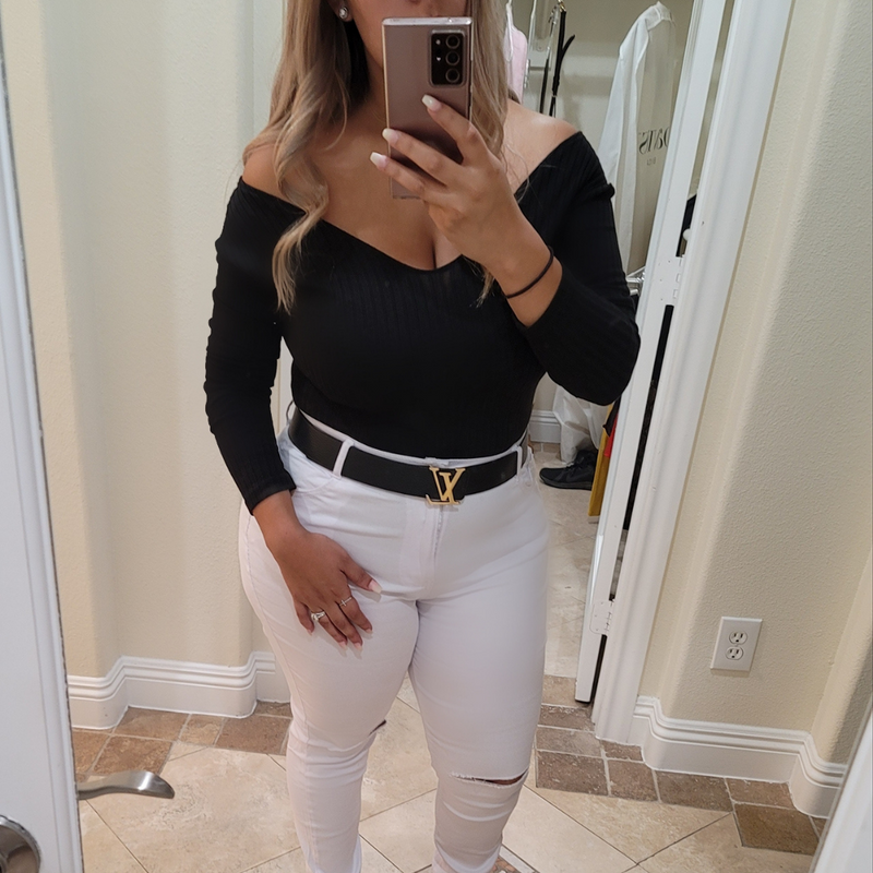 High Waist Skinny Jeans With Knee Slit