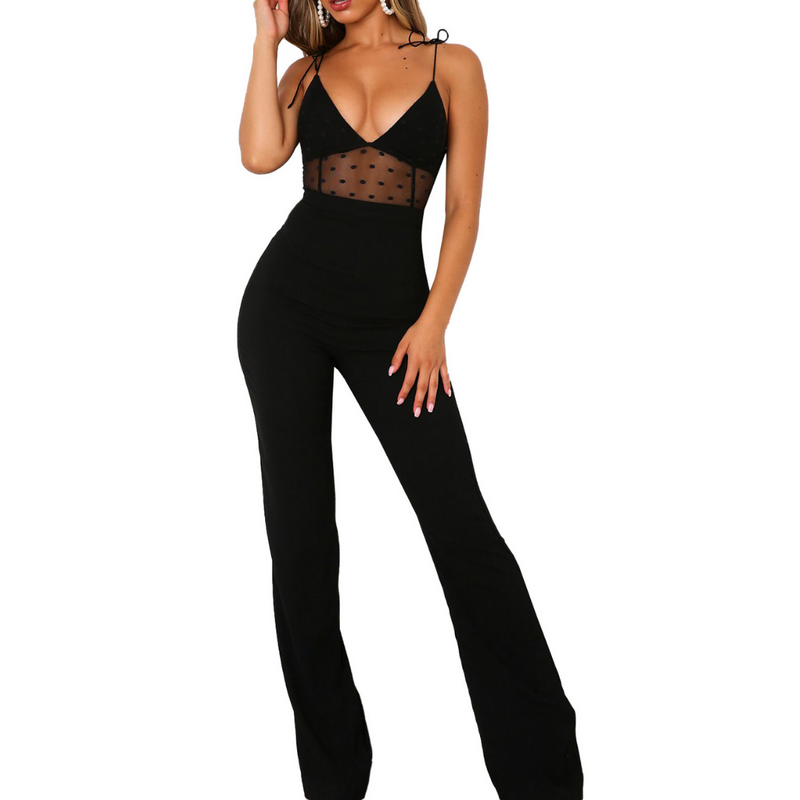 Black Jumpsuit With Polka Dot Detail
