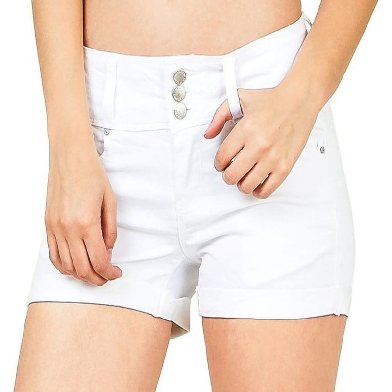 3 Button Mid Rise Shorts - goddessinc.com