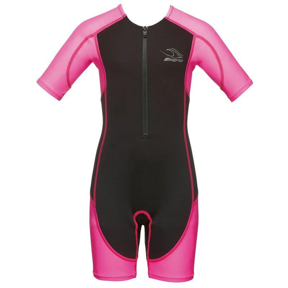 AquaSphere Stingray Girls Suit - Short Sleeve - Pink