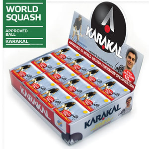 Karakal Yellow Dot Squash Balls - Box of 12