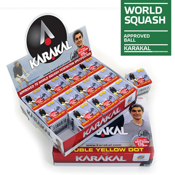Karakal Double Yellow Dot Squash Balls x 12