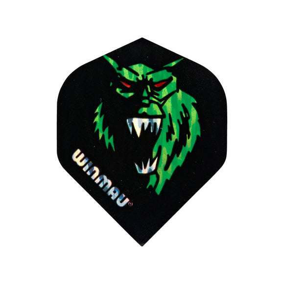 Winmau 3D Standard Dart Flights - Green Monster - 10pk