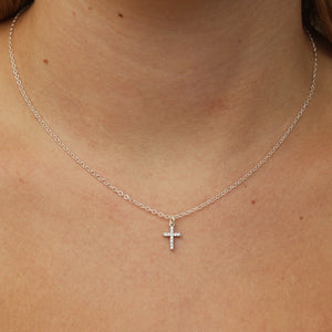 silver crystal cross necklace