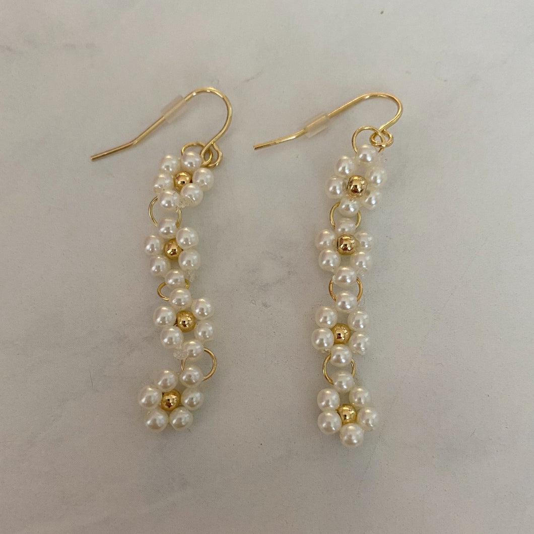 dangly beaded gold flower earrings