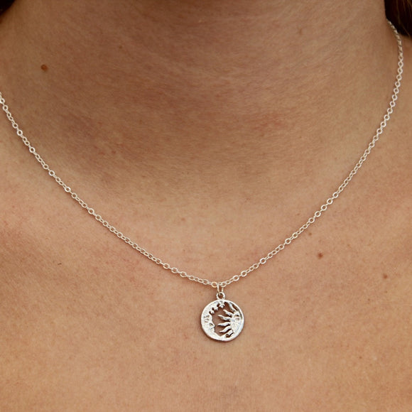 where the moon meets the sun silver necklace
